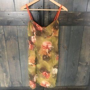 Olive Green Floral Dress